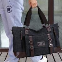 帆布韩版男包商务休闲行李包袋潮男士旅行包手提单肩斜挎包健身包