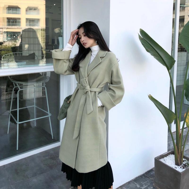 毛呢外套女秋冬大衣女新款2018韩版气质中长款呢子大衣潮~带腰带  均码