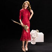 鱼尾敬酒服新娘旗袍2018新款冬季中长款红色结婚礼服裙长袖显瘦女