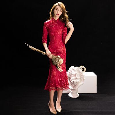 鱼尾敬酒服新娘旗袍2018新款冬季中长款红色结婚礼服裙长袖显瘦女   性感修身优雅 端庄大气 新品