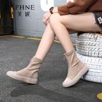 达芙妮2019秋冬款新款中筒弹力靴英伦帅气冬季显瘦高筒靴---