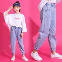 女童牛仔裤女萝卜春夏季外穿洋气长裤中大童儿童裤子宽松
