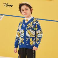 【今日4折�A估�r:96.9元】迪士尼男童�_衫毛衣2021春�b新款洋�馔��b�和�����唐老����毛衫
