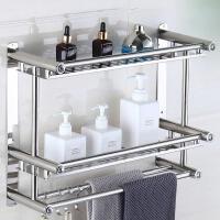 洗手间不锈钢加厚毛巾架免打孔置物架浴室卫生间浴巾架五金挂件