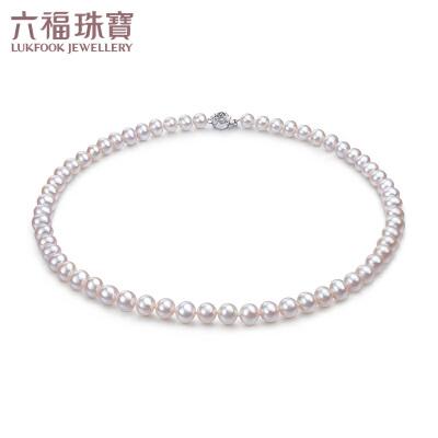 六福珠宝珍珠项链妈妈款气质淡水珍珠女锁骨925银链正品F87DSN001 玫瑰花扣位 细节考究 更显别致