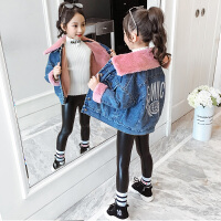 儿童洋气加绒外衣小女孩时髦翻领大衣女童牛仔外套新款秋冬季上衣