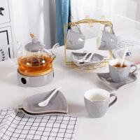 陶瓷花茶壶 玻璃过滤茶具套装 家用水果花茶壶蜡烛加热英式下午茶杯