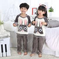 男孩宝宝珊瑚绒睡衣儿童卡通法兰绒家居服套装4岁6-8秋冬季