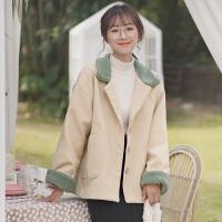 秋冬季学生毛呢外套短款2019新款简约呢子羊羔毛甜美大衣女
