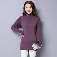 秋冬季中长款女装韩版羊毛针织修身显瘦半高领毛衣女打底衫
