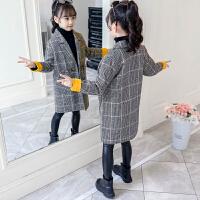 女童中长款格子毛呢外套2019秋冬季新款女童妮子洋气大衣