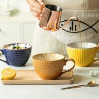 杯子陶瓷�凸鸥〉��性早餐杯手�L��片杯大咖啡杯情�H喝水杯牛奶杯
