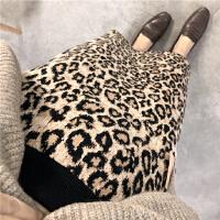 欧货秋冬新品女式高级感豹纹开叉加密针织半身裙包臀裙打底裙子 豹纹 均码