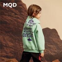 MQD童装男童19秋冬新款宽松连帽保暖卫衣儿童加绒加厚套头衫韩版
