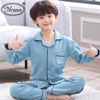 春秋夏季棉�L袖男童中大童薄款全棉家居服套�b男孩�和�睡衣