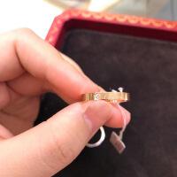 六一儿童节520/戒指LOVE 18K玫瑰金黄金窄版宽版男女情侣婚戒对戒 玫瑰金