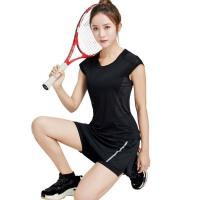 女士运动健身服套装瑜伽裙裤跑步马拉松羽毛球网球短袖T恤