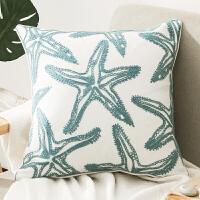 美式客厅抱枕不含芯正方形几何图形棉麻沙发靠垫绿色现代简约靠枕