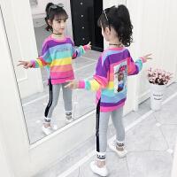 2019春秋季新款儿童运动洋气时髦童装女童秋装套装两件套