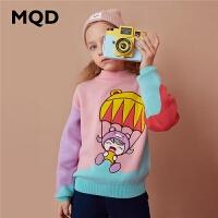 【1件2.5折券后价:99】MQD童装女童半高领加厚毛衣2020冬装新款儿童拼接撞色保暖针织衫