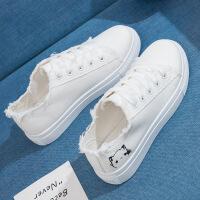 新款帆布鞋女学生夏季韩版原宿百搭小白鞋平底板鞋子