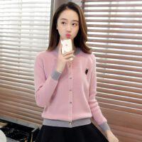 春款短开衫女长袖毛衣外搭韩版圆领针织开衫披肩女士秋季短外套潮