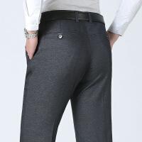 秋冬季中年男士休闲裤直筒高腰大码中老年加绒加厚款西裤爸爸装
