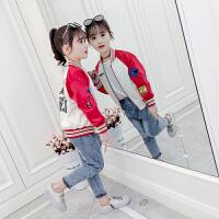 宝宝洋气夹克衫中大童上衣潮2019新款韩版儿童棒球服女童春装外套