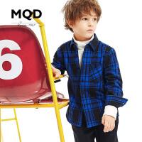 MQD童装男童加绒衬衫冬装女童加厚长袖保暖格子衬衣纯棉儿童衬衫