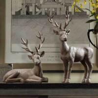 装饰品摆件创意客厅酒柜摆设家居饰品树脂工艺品美式复古树脂麋鹿摆件
