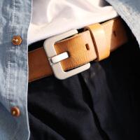 复古做旧手工针扣腰带黑色宽皮带青年男女裤带