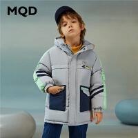 MQD童装男童工装风中长款连帽保暖90绒羽绒服20新款冬装加厚羽绒
