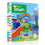 顺丰发货 Busy Town 纸板书 幼儿启蒙认知英文原版趣味读物 孩子可以藉由推、拉和转动的过程,运动自己的小肌肉,