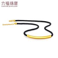 六福珠宝新月系列黄金项链足金锁骨链编织绳计价F48TBGN0003