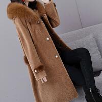 颗粒羊毛大衣羊剪绒冬季新款中长款皮毛一体女士皮草外套