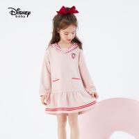 【3件4折券后预估价:116.8】迪士尼女童网红学院风连衣裙2021春装新款童装儿童宝宝裙子洋气