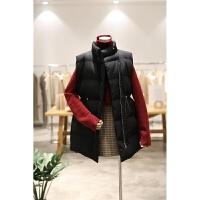 抽绳收腰韩版帅气廓形立领面包服马甲女冬季新品宽松无袖棉衣外套
