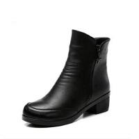 冬季中老年人女鞋高帮加绒大码中筒靴粗跟 中年女靴 妈妈鞋棉鞋保暖