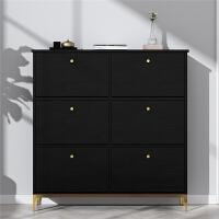 黑色鞋柜轻奢简约现代家用门口翻斗式北欧实木小户型超薄鞋柜17 组装