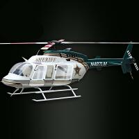 新款航模700级仿真遥控直升机 贝尔BELL407 像真飞机空机套装飞机长1.7米