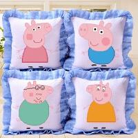印花十字绣抱枕卡通动漫全家福一套小猪姐弟佩奇一家枕套沙发靠垫 花边 【小猪姐弟】一对含枕芯