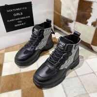 达芙妮2020秋冬新款马丁靴女英伦风显脚小厚底百搭内增高休闲短靴