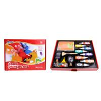 沙画套装儿童手工胶画彩沙刮画宝宝砂画沙子彩砂益智玩具 大套装 8瓶闪沙 卡片 工具