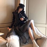 套装女春装两件套修身显瘦chic宫廷风气质外套高腰不规则网纱裙潮