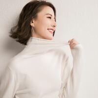 秋冬季新款毛衣女圆领堆堆领高领宽松短款纯色打底针织衫大码