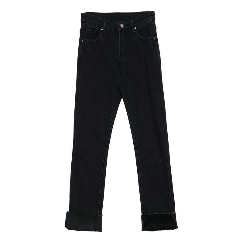 加绒牛仔裤女2018新款冬季韩版百搭直筒裤学生黑色显瘦小脚裤 黑色