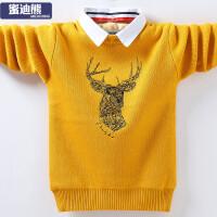 儿童套头棉保暖打底衫中大童衬衫领新款男童加绒加厚毛衣针织衫