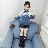 女童中大童韩版宽松女孩卫衣2019新款女童加绒加厚冬装衣服