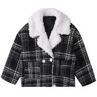 秋冬季新款韩版拼接仿羊羔毛格纹大衣宽松加厚短款复古毛呢外套女 黑色 均码