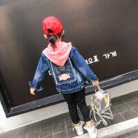 女童秋装牛仔外套2018新款韩版儿中大童时髦夹克开衫洋气外套潮衣